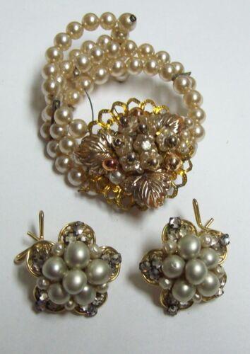 Vintage Unsigned Miriam HASKELL  Pearl Bracelet & Earrings