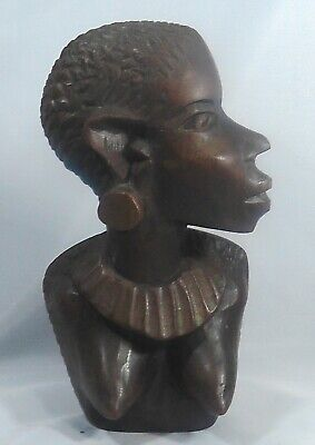 A Hand Carved Woman's Bust. African Hardwood. Kenya/Tanzania. Stylised.