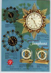 1957 PAPER AD Junghans World Famous Clocks Wall Sunburst Mid Century Modern