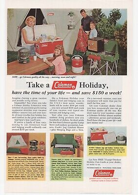 Vintage 1966 Coleman Holiday Tents Sleeping Bags Stove Coolers Jugs Print Ad