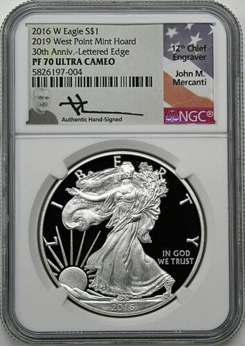 2016 W $1 Proof Silver Eagle NGC PF70 UCAM Mercanti 2019 West Point Mint Hoard