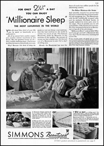 1934 Woman in bed maid Simmons Beautyrest mattress vintage photo print ad ads59