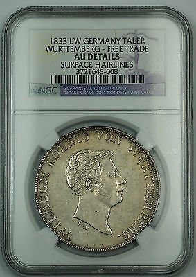 Click now to see the BUY IT NOW Price! 1833 LW GERMANY SILVER TALER WURTTEMBERG NGC AU DETAILS