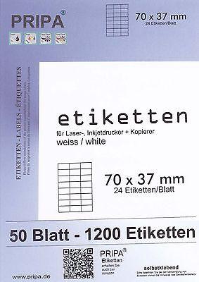 1200 Etiketten 70x37 mm = 50 Blatt DIN A4 Label selbstklebend PRIPA weiß 3474