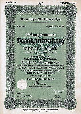 Deutsche Reichsbahn, Berlin, 4 1/2% Schatzanweisung, 1939, Gr.2 C (1.000 RM)