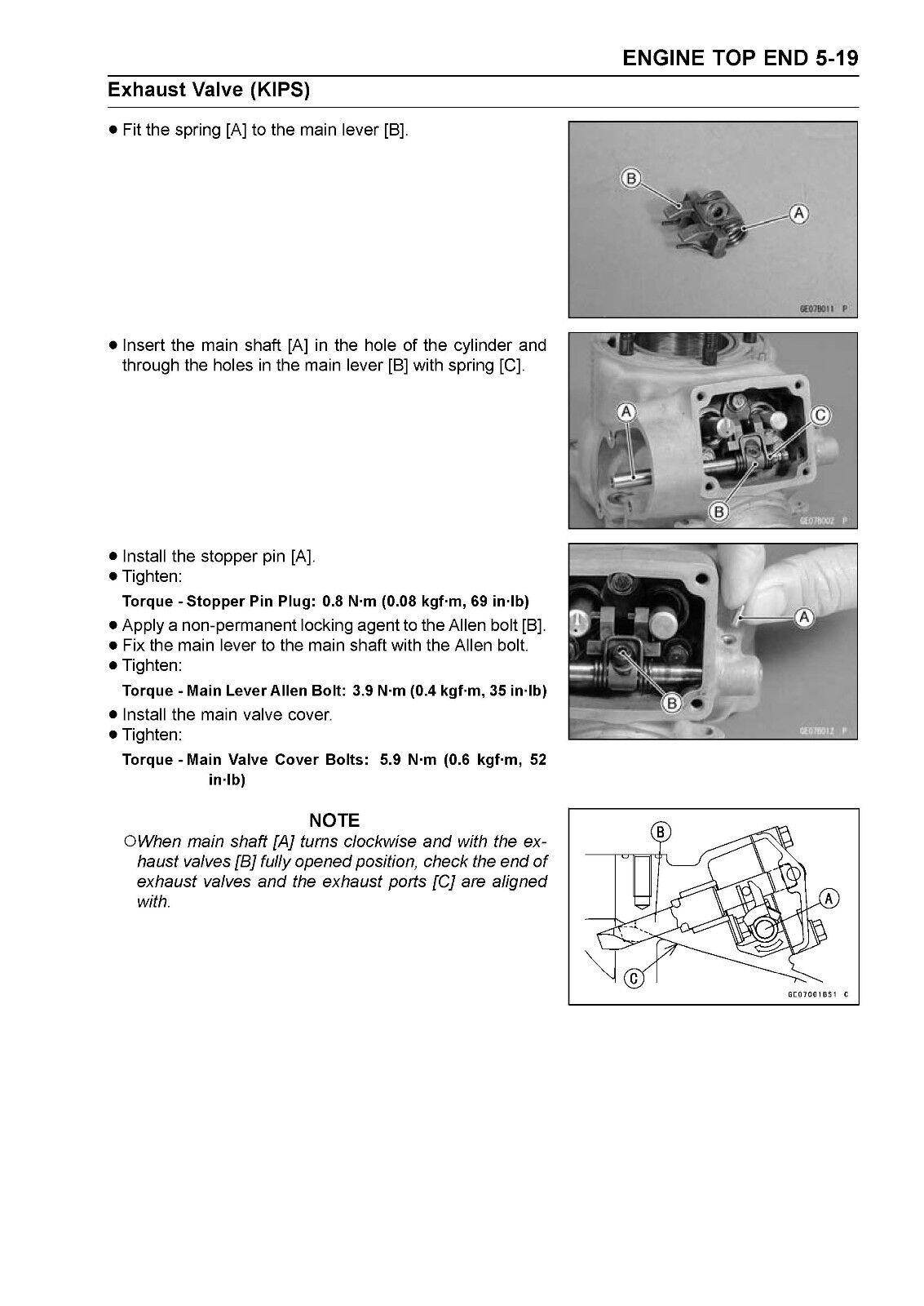10 of 12 Kawasaki service manual 2003 KX125 & KX250, 2004 KX125 & KX250 &  2005 KX125