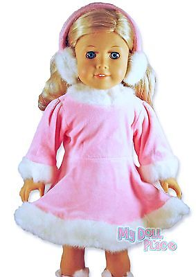 Skating Outfit Pink Dress +Ear Muffs made for 18 inch American Girl Doll Clothes