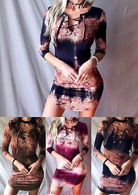 Tie Dye Lace Up V-Neck Bodycon Round Hem Stretchy Mini Dress 3/4 Sleeve Tunic