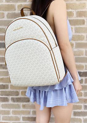 Michael Kors Abbey Large Backpack Vanilla MK Signature PVC Leather 2019