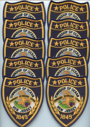OCEAN TOWNSHIP NEW JERSEY Patch Lot Trade Stock 10 Police Patches POLICE PATCH