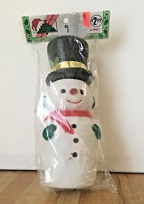 "Vintage 8"" Flocked Snowman Figurine Christmas Decoration NEW"