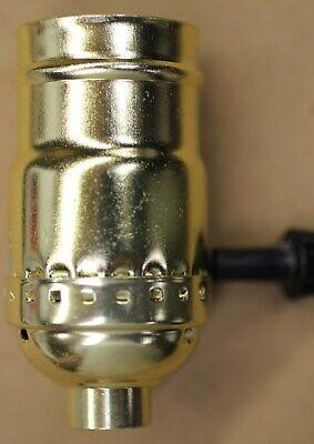 BRASS MEDIUM BASE LAMP SOCKET 3 WAY SWITCH 1/8