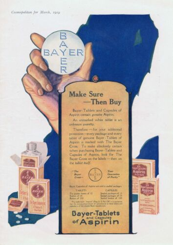 Bayer Aspirin Tablets and Capsules  -  1919  Advertisement