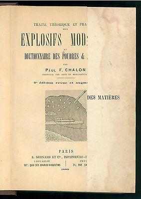 CHALON PAUL TRAITE THEORIQUE ET PRATIQUE DES EXPLOSIFS MODERNES BERNARD 1889