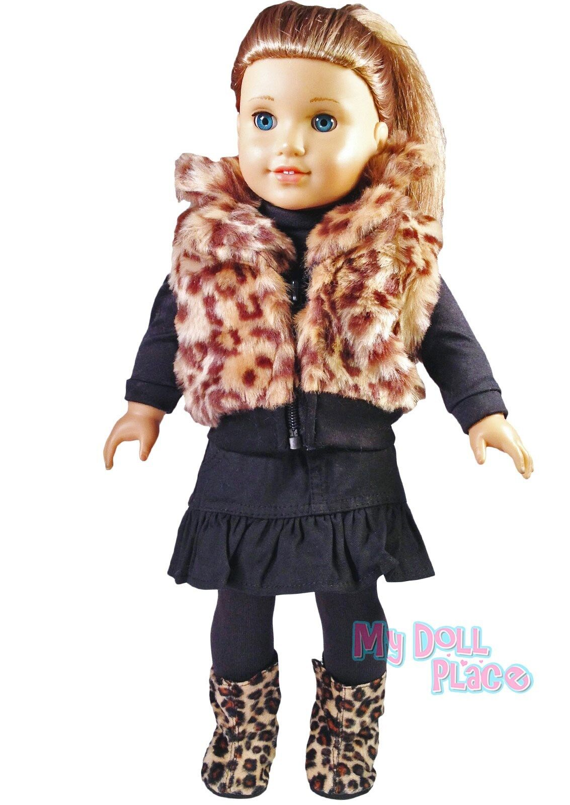 Doll Clothes  Furry Bear Hat and Boots fit 18 inch American Girl
