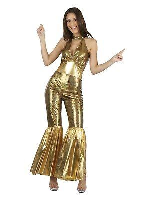 Ladies Gold Disco Jumpsuit Fancy Dress 1970s Queen Retro Costume - Gold Jumpsuit Kostüm