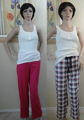 NWT NAUTICA papyrus yellow ribbed sleeveless tank top& plaid or pink pant -