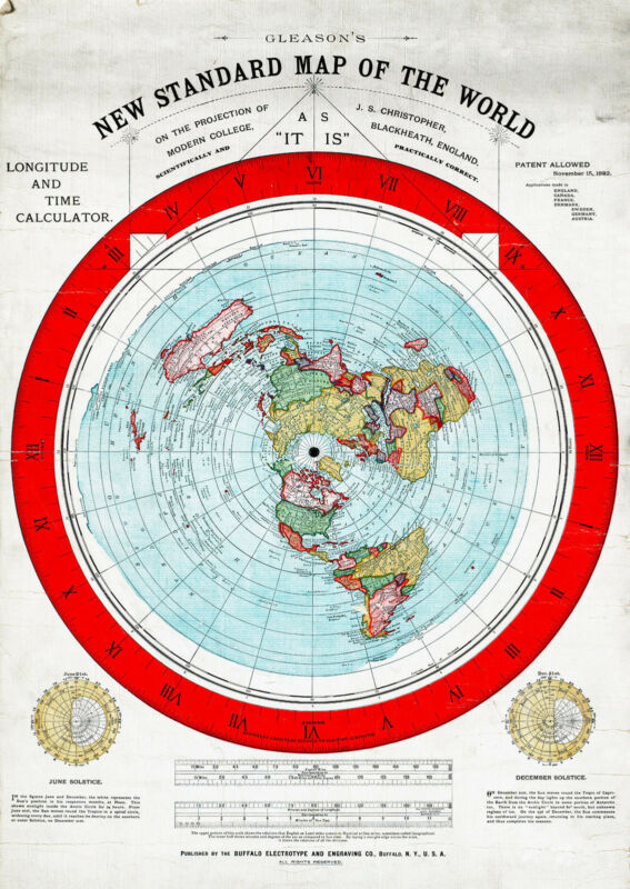 "Flat Earth Map 23""x32"" LARGE 1892 Alexander Gleason New Standard Map the World"