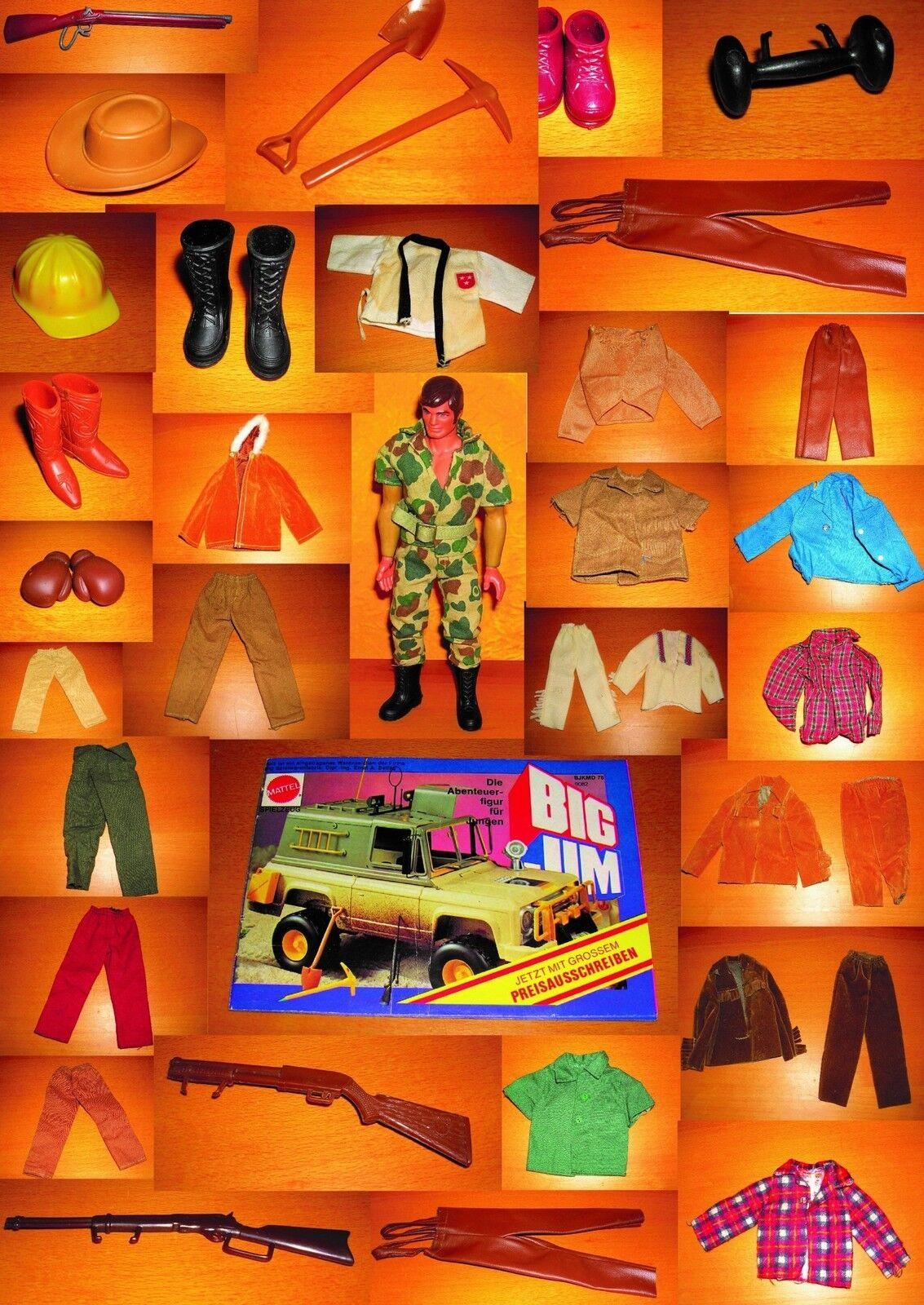 Big Jim Outfits Zubehör Mattel Kleider Waffe Ersatzteile Set Karl May Camping 6