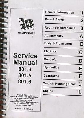 Jcb Shop Service Manual - 801.4801.5801.6 Mini Excavators