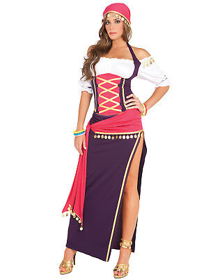 Gypsy Maiden Costume (Gypsy Maiden 5 pc Costume Halter Top Skirt Sash Head Scarf Plus Size S-4X)