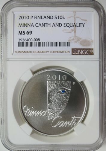 2010 P Finland Silver 10 Euro Minna Canth And Equality NGC MS 69