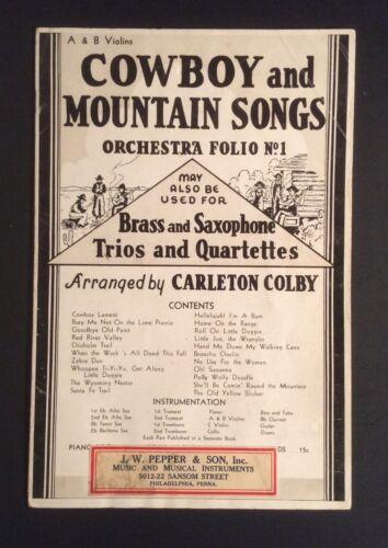 Cowboy And Mountain Songs Orchestra Folio No. 1 1936 Sheet Music Melrose Bros.
