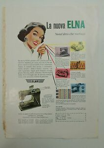 Pubblicita-vintage-1956-ELNA-MACCHINA-DA-CUCIRE-advertising-werbung-publicite
