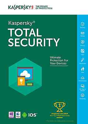 Latest - Kaspersky Total Security 2017 - 3 Devices / 1 Yr - Win 10 - Ships FREE