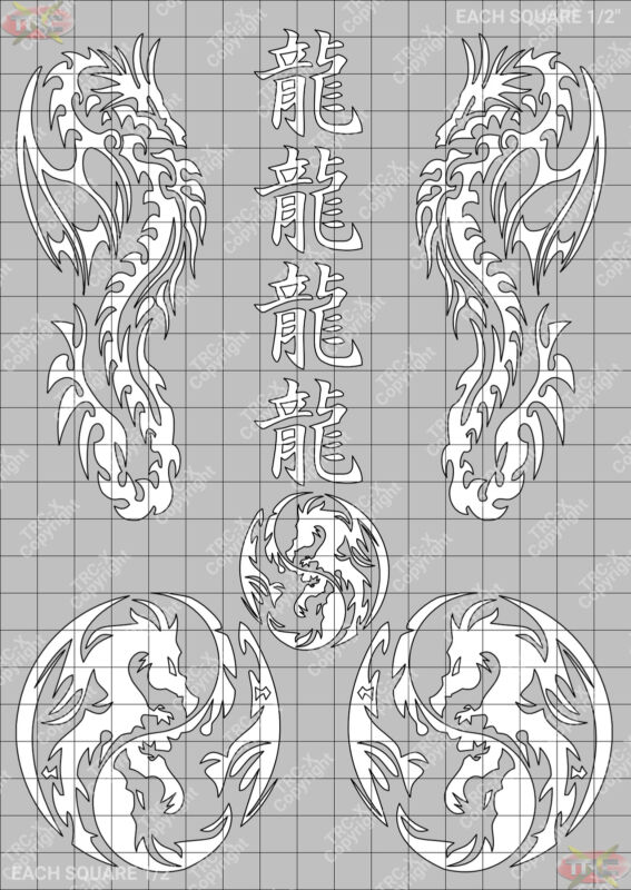 TRC8340W Dragon Hobby Water Painting Stencil Craft Airbrush Mask