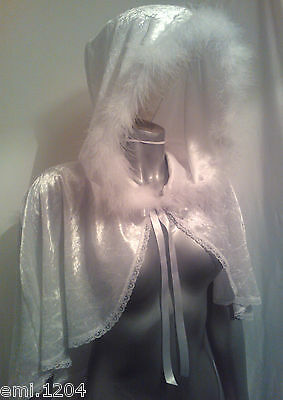 Snow Queen Cape (SNOW QUEEN. WHITE WITCH. MINI HOODED)