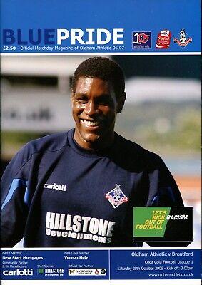 B28 Oldham Athletic v Brentford 28/10/06 League 1