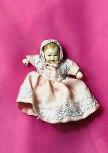 Doll house collectors : miniature doll baby in pink lace
