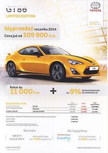 Toyota GT86 10 / 2014 catalogue brochure Limited Giallo Special - <span itemprop='availableAtOrFrom'> Varsovie, Polska</span> - Toyota GT86 10 / 2014 catalogue brochure Limited Giallo Special -  Varsovie, Polska