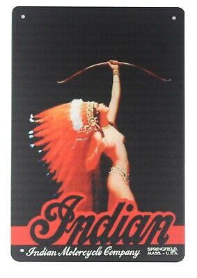 US SELLER, Indian motorcycle aboriginal sexy girl tin metal sign contemporary