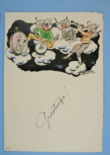 Smithsonian ties 1938 Signed Walt Kuhn Holiday Christmas Card Ink & Water Color