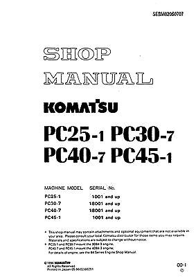 Komatsu Pc25 Pc30 Pc40 Pc45 Excavator Service Repair Shop Manual Free Shipping