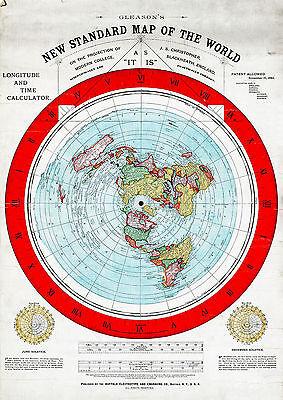 "Flat Earth 16""x23"" New Standard Map of the World Alexander Gleason 1892 Poster"