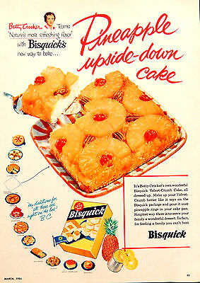 Vtg 1954 Betty Crocker Bisquick Pineapple cake advertisement print ad art