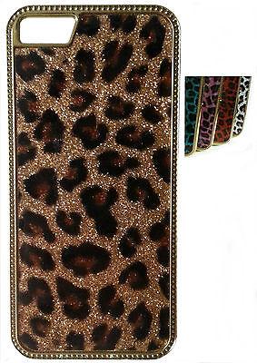 Handy Hülle Hard Case Cover Schutz Hülle Diamant Glitzer Leopard Glanz Etui Leopard Hard Case Cover
