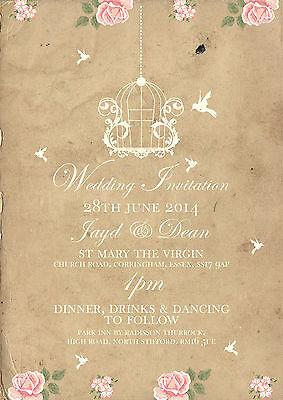 50 Personalised Birdcage Rustic Vintage Shabby Chic Wedding Invitations!