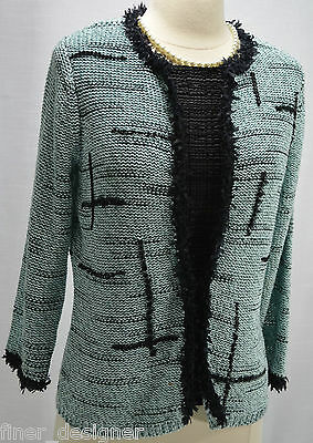 Susan Bristol VTG Hand Embroidered Springy Sweater Shaggy Cardigan Mint Black S