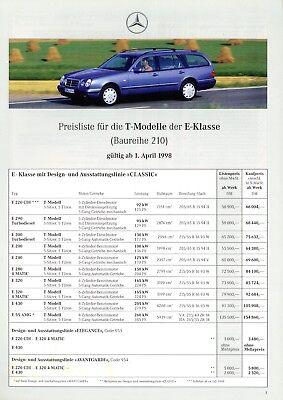 Mercedes E-Klasse Lim T Preisliste 2000 31.1.00 E 55 AMG 200 220 CDI 320 430