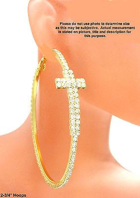 Thick Cross Hoop Rhinestone Earrings Rhinestone Gold Tone 2-3/4