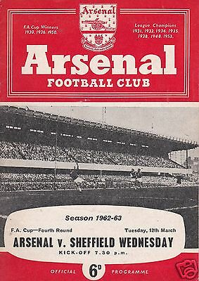 ARSENAL V  SHEFFIELD WEDNESDAY  FA CUP  12/3/63