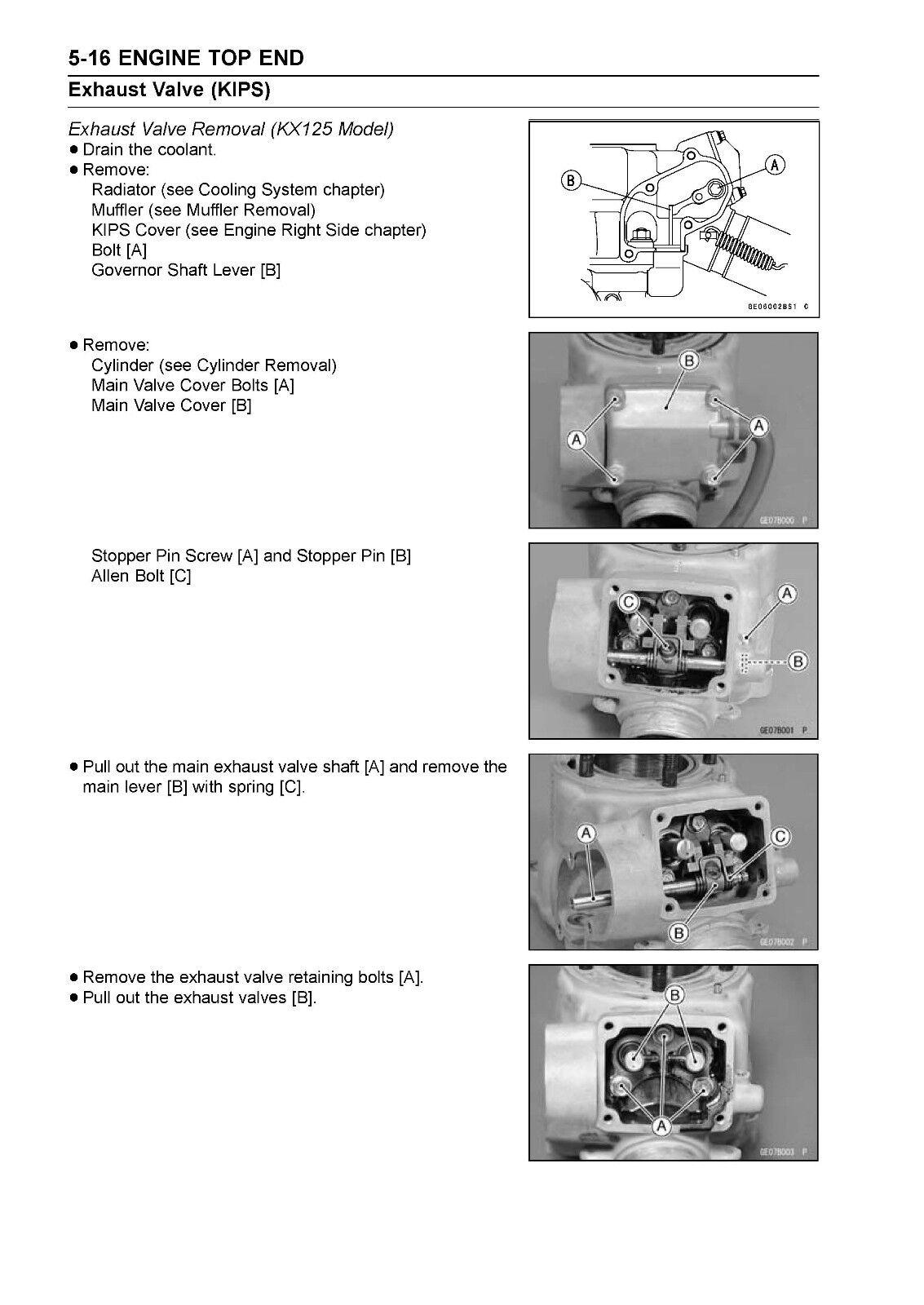 7 of 12 Kawasaki service manual 2003 KX125 & KX250, 2004 KX125 & KX250 &  2005 KX125