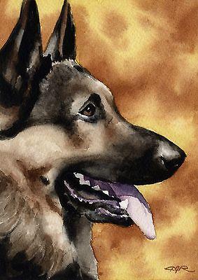 GERMAN SHEPHERD Painting Dog 8 x 10 ART Print Signed by Artist DJR