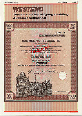 Westend Terrain und Beteiligungsholding AG Frankfurt 500er DM Aktie 1987 Hessen