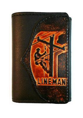 Lineman Leather Trifold Wallet,  Linesman, Powerline Technician,  Free Key (Lineman Chain)