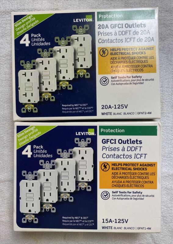 Lot Of 2 Leviton M42-GFNT2-4W GFCI Outlet- 4 Pack